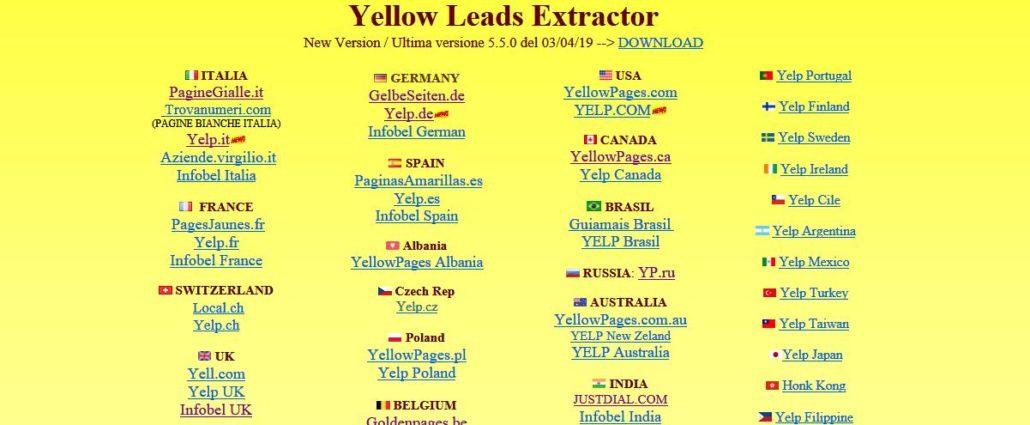 Программа Yellow leads extractor